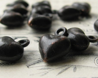 Tiny heart charm from Bad Girl Castings, black patina, cast pewter heart 10mm (4 black hearts) mini heart, puffed heart charm, puffy heart