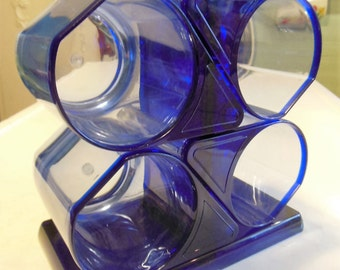 Vintage Blue Plastic Coffee Cups & Stand Charwood Vancouver 16 ounce Space Age