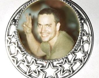Wedding Vest Lapel Pin Silver Stars Military Memory Memorial Photo Pin - FREE SHIPPING