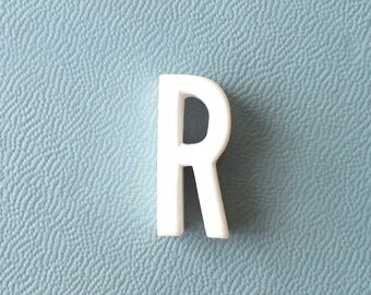 vintage 1930's white ceramic capital letter R small tiny little old antique porcelain decorative home decor retro personalized name initial