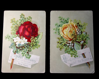 Victorian Trade Cards for Purssell Company Featuring Roses 1883