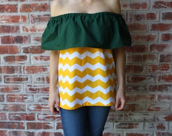 Green and Gold Strapless Off the Shoulder Game Day Top - Size Small