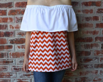 Orange and White Strapless Off the Shoulder Game Day Top - Size Small / Medium
