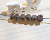 spring is coming... 6 beads - tribal vintage boho romantic - poppy in the sky hig fired red peas