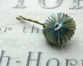 Decorative  Bobby pin, blue with vintage sheet music