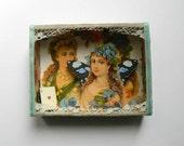 Fairy Shadow Box, Victorian Style, OOAK Gift