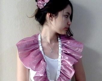 Dusty Rose Pink Shoulder Wrap Wedding Shrug tie on shoulder shrug Ruffled Scarf with hair Flower Wedding set