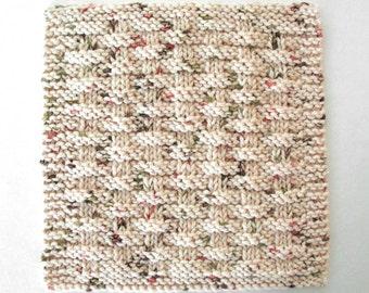 Cotton Dishcloth, Knit Dishcloth, Neutral Kitchen Decor, Basketweave Dishcloth