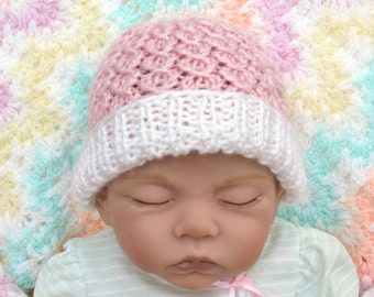 Newborn Baby Hat, Pink Baby Hat, Newborn Hospital Hat for Girl, Newborn Girl Hat, Hand Knit Baby Hat, Cable Knit Baby Hat