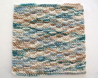 Knit Dishcloth Cotton Washcloth Teal Kitchen Decor Blue Brown Dish Wash Cloth