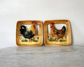 Vintage Ceramic Napcoware Loving Couple Rooster and Hen Wall Plaques