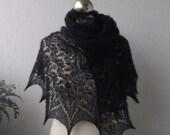 Black beaded hand knitted luxury  lace shawl, beaded kidsilk shawl