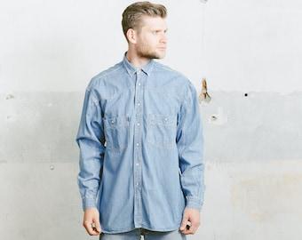 Vintage Western DENIM Shirt . 1990s Men's Blue Snap Button 90s Shirt Grunge Jacket Overshirt Boyfriend Gift Normcore . Medium Large XL