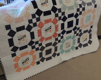 Modern Quilt / Rolling Stone Pattern/ Navy, Coral and aqua