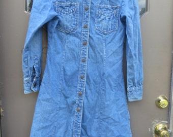 Vintage 70s  ZZ    mIZZ Lizz     denim Jean    Duster Shirt   DRESS  Hippie Boho  sz 11 -12