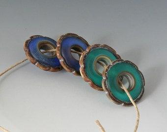 Rustic Ruffle Discs - (4) Handmade Lampwork Beads - Blue, Teal