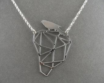 silver bird necklace, geometric bird necklace, geometric jewelry, silver necklace