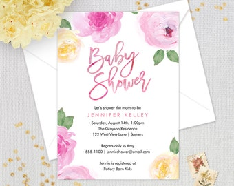 Baby Shower Invitation, Pink and Yellow Watercolor Floral Baby Shower,  Printable Digital Invitation, #2957