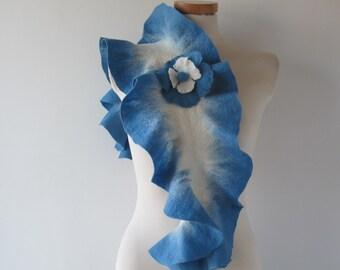Felted scarf ruffle collar Blue ruffle scarf women scarf  scarf by GalaFilc