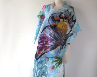 Nuno felted scarf, Blue white felt scarf buttefly scarf Women felted shawl Women spring scarf  galafilc outdoors gift