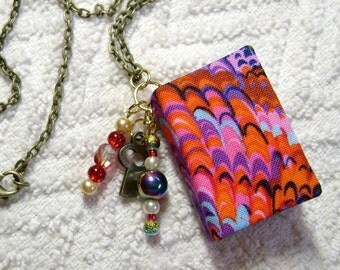 Handmade Book Necklace - Book Jewelry - Book Pendant - Book Journal - Handmade Book - Key Charm - BN-123
