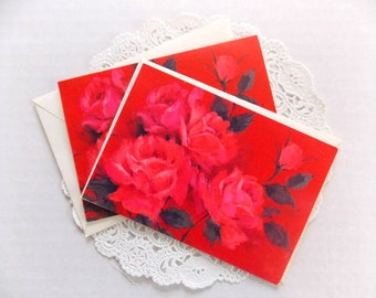Vintage Hallmark Cards / Rose Cards / Lot of 2 / Junk Journal / Smash Book