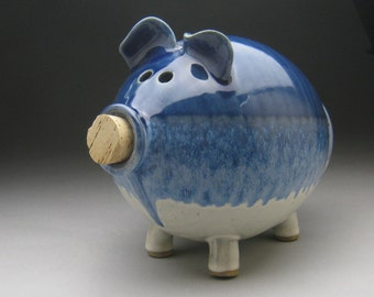 Large Ceramic Piggy Bank - Made to Order in Blue, White, or Purple