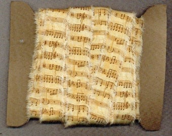 5 yards vintage music ribbon handmade trim gift wrap Paris tag craft supplies  . 1145 . ....oohlala