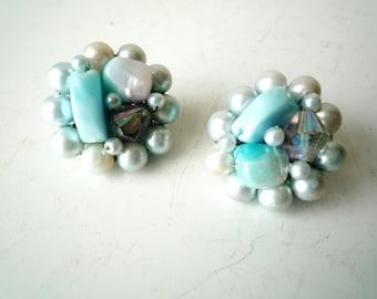 Blue Beaded Clip Earrings, Vintage  Blue Clip on Earrings, Something Blue Wedding Earrings, SALE