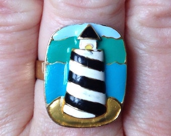 LIGHTHOUSE ENAMEL RING, Upcycled Jewelry, Adjustable Band, Repurposed, Colorful, Under 10 Dollars