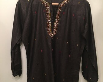 ON SALE Vintage Indian Black Embroidered Tunic •  Vintage Top • Bohemian Top • Black Cotton Tunic • Small to Medium