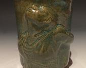 Dancer cup, bas relief sculpture mug, figure art pottery yunomi