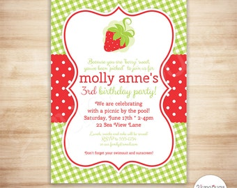 Strawberry Party Invitation - Strawberry Shortcake Inspired Birthday Party Invitation - Red - Printable, EDITABLE - INSTANT DOWNLOAD