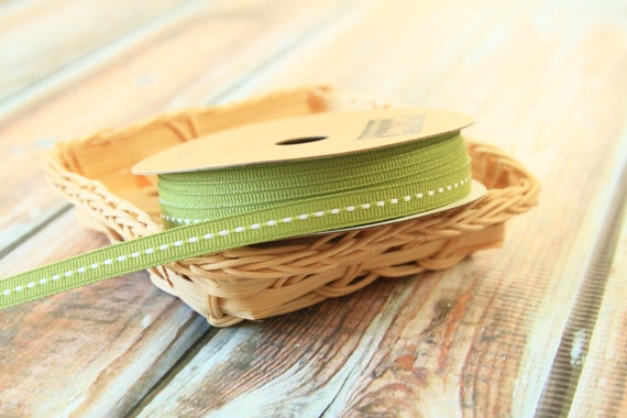 10m SAGE Green SKINNY Stitched Grossgrain ribbon