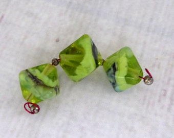Destash Spring Lime - Lampwork Diamond Crystal bead set by Silver Gypsy