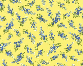 BLUEBONNETS Sunshine Yellow TEXAS shabby quilt fabric Moda lupines Sentimental Studios Wildflowers VII 1 yard 32973-14