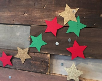 Twinkle, Twinkle Gold Glittery, Red and Green Star Garland Christmas Party, Photo Prop, Christmas Tree and Holiday Decor, Classroom Decor