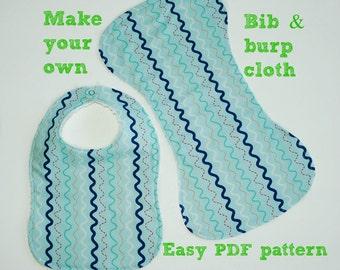 Newborn pattern, Bib pattern, Patterns for babies, Baby sewing patterns, Infant pattern, Drool bib, Shoulder Burp Cloth and Bib Pattern S116