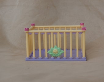 Doll House or Mini Cabbage Patch Kids Crib, Vintage 1984 Plastic Dollhouse Furniture Bed