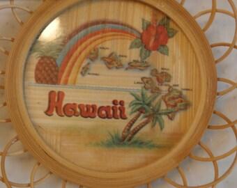 Hawaii Map on Rattan Souvenir Coaster, Vintage Hawaiiana
