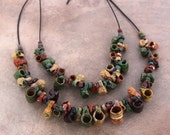 RESERVED for B Two Vintage Mexican Pottery Mug Necklaces on Leather Cord