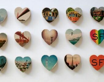 Mini Heart Magnet - San Francisco Scenes - Distressed Photo Transfers on Wood - Choose