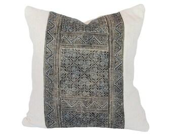 White/Natural African Mudcloth & Hmong Blue/Black Thai Pillow