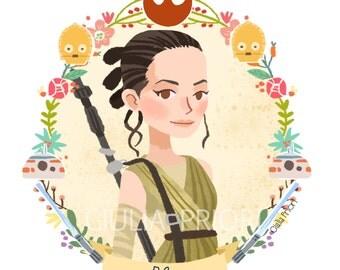 STAR WARS  Rey, Kylo Ren or BB8 Floral Print