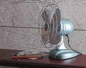 Mid-Century Fan - vintage  - Zero - home decor - green metallic