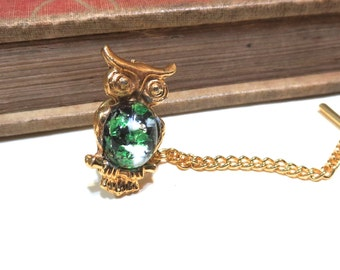 Vintage Antique Gold Owl Tie Tack Clip with Glass Harlequin Opal - Green White Black Yellow White Pink