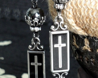 RENAISSANCE BLACK CROSS & Hematite Earrings. Brighton Crosses. Long Dangles. Vintage Renaissance Assemblage. No3. Inspired By Anne Boleyn