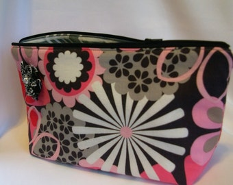 Large Flat Bottom Cosmetic Bag in Pink/Black/Gray Floral Print...The Adelaide Collection