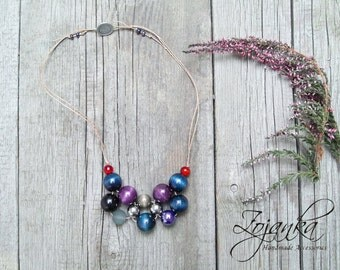 Summer statement Necklace, beaded wooden necklace, colorful accessories, colorful summer necklace, accessories