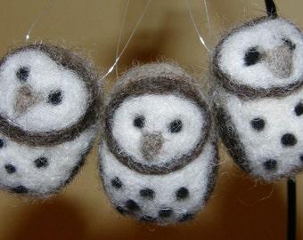 Barn Owl Ornaments Needle Felted Wool